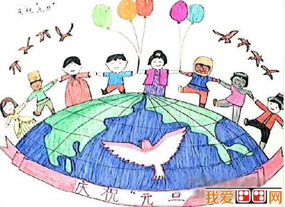 自由飞翔的小鸟和 和平鸽,表达了小朋友希望世界和平的愿望.