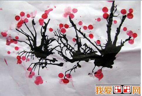 幼儿桃花树枝简笔画