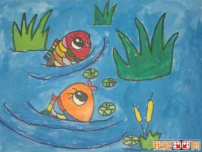 """活动中环境创设的重要性      绘画""""小鱼游泳""""在学习用曲线画水的同时"""