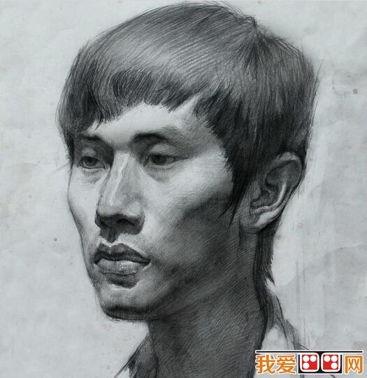 青年男子素描头像作品
