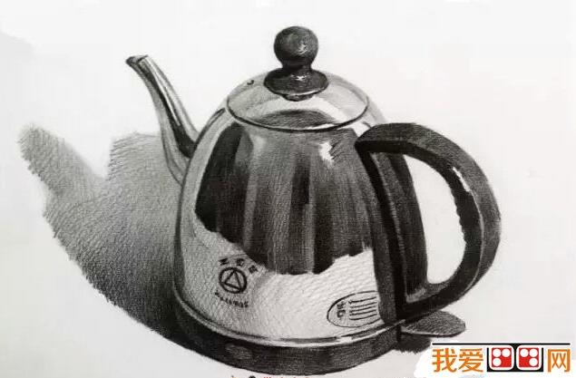 不锈钢热水壶静物素描