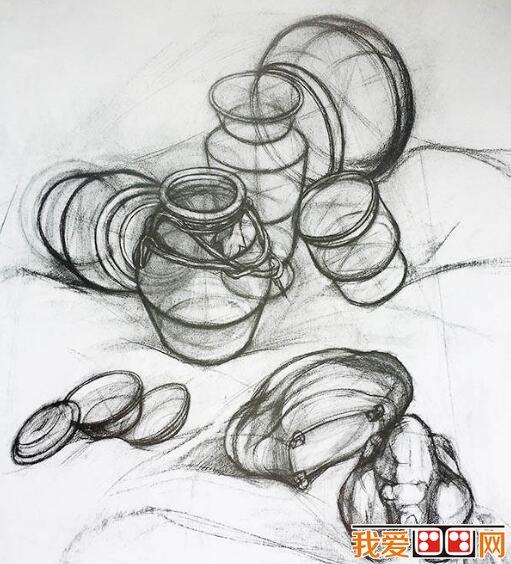 中国美术学院瓷罐静物素描作品