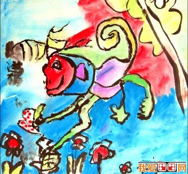 儿童画教程 儿童画欣赏 > 儿童画齐天大圣孙悟空作品大全      图画与
