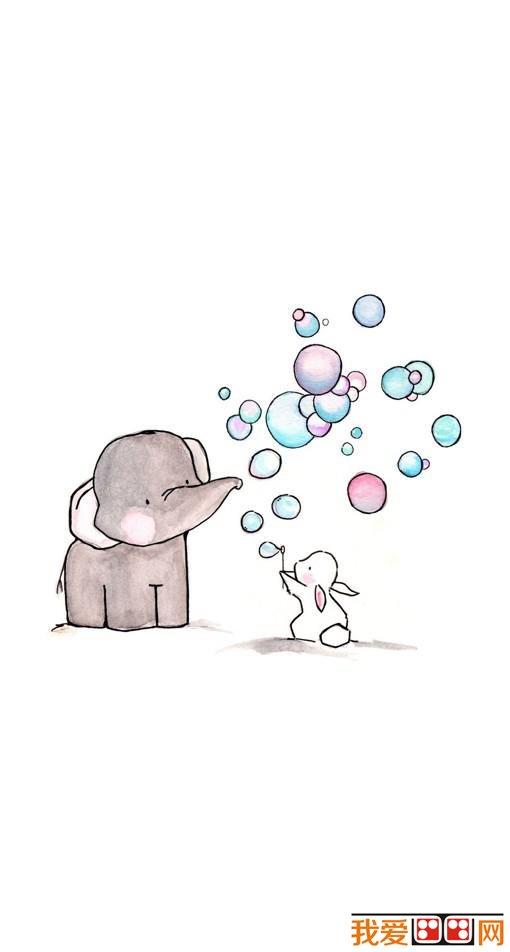 学画画 儿童画教程 儿童画欣赏 > 儿童diy绘本《小象与小白兔的友谊》