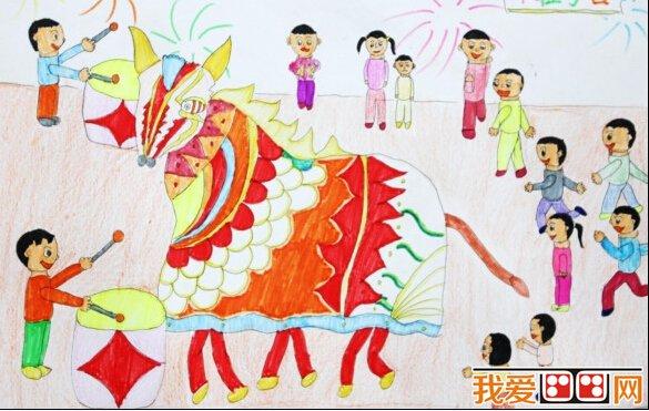 儿童画过年:过新年儿童画图片欣赏_儿童画教程_学画画图片