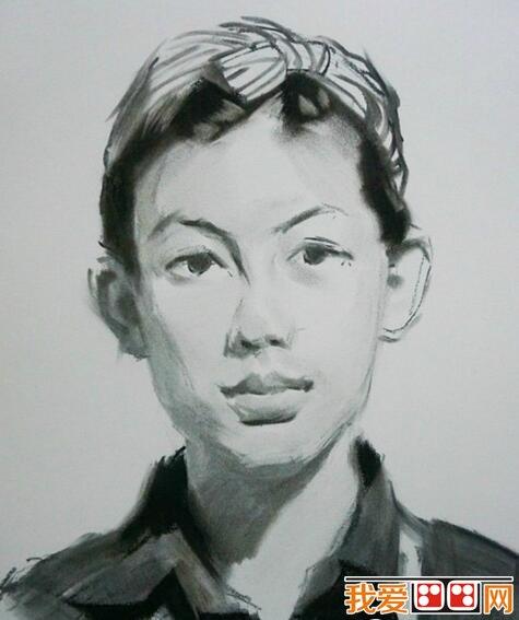 素描头像教程:女青年素描头像步骤详解