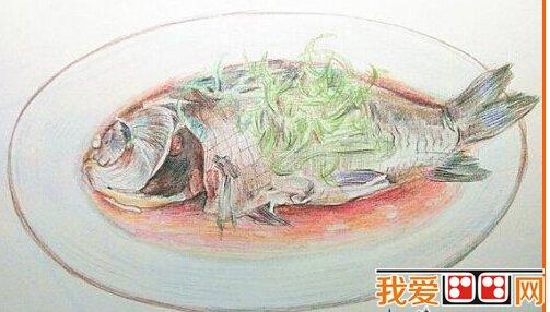 手绘水彩画:清蒸鱼