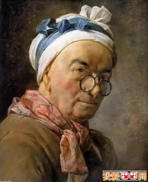 让·巴蒂斯·西美翁·夏尔丹(法语: Jean-Baptiste-Siméon Chardin(1699年11月2日-1779年12月6日)是18世纪的法国画家,是著名的静物画大师。  法国画家夏尔丹《戴眼镜的自画像》 夏尔丹出生于巴黎,父亲是制造台球桌的匠人,他一生几乎从没有离开这座城市,直到1757年以前,始终住在塞纳河左岸圣叙尔比斯教堂附近,当年国王路易十五世在卢浮宫中赐他一座画室和居住间,他才搬出原住址。  法国画家夏尔丹人物油画《洗萝卜的女人