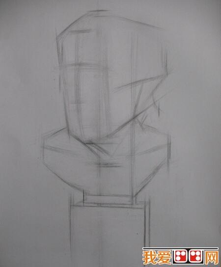 > 素描教程:石膏像塞内卡素描教程示范      二,塞内卡石膏像的头发