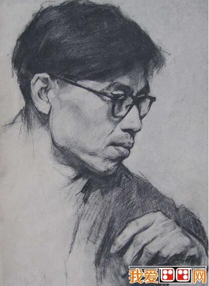 戴眼镜的老师人物素描画像