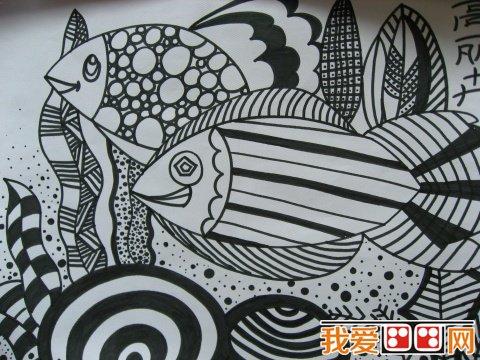 幼儿线描画金鱼图片