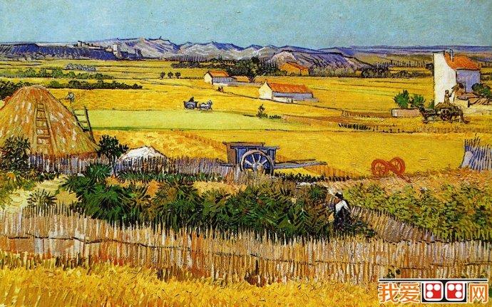 梵高乡间风景画《收割中的田园风景》1888年画布,油彩,73厘米x92厘米