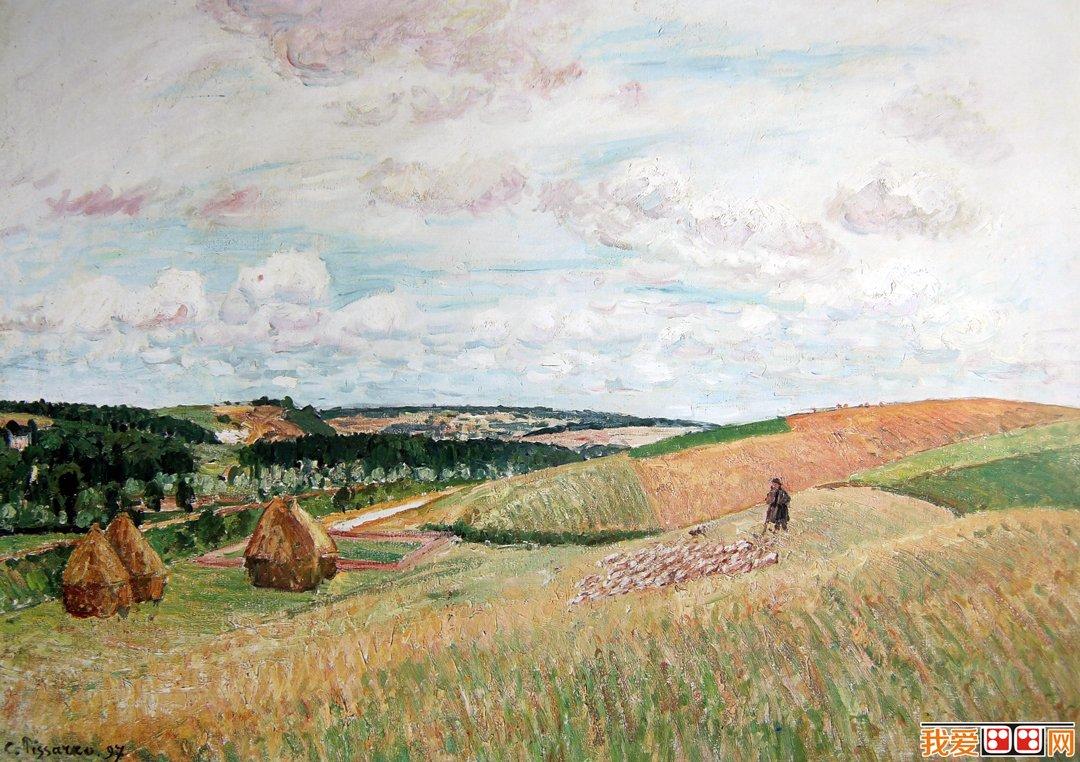 印象派画家 毕沙罗风景油画《牧人鱼羊群》1897年 布面油画图片