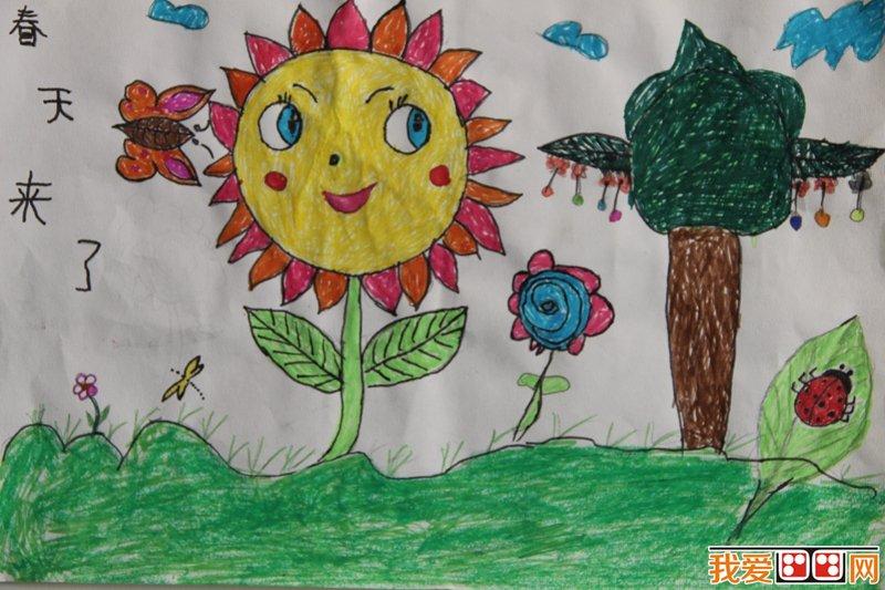儿童绘画作品《春天来了》