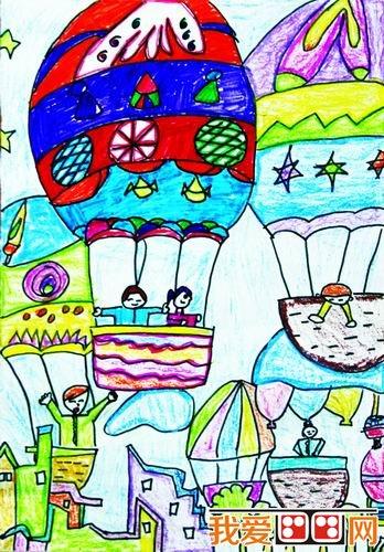 儿童绘画作品热气球图片