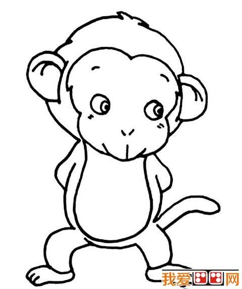 可爱的猴子简笔画作品欣赏_儿童画教程_学画画_我爱
