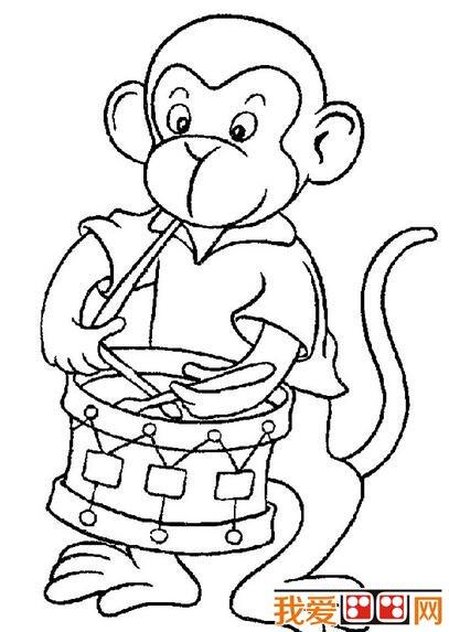可爱的猴子简笔画作品欣赏