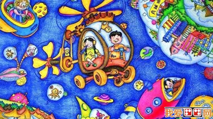 儿童科幻画作品欣赏 我的航空梦