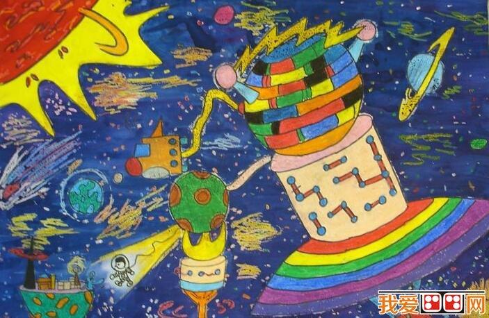 科学幻想画-儿童科幻画作品欣赏 我的航空梦图片