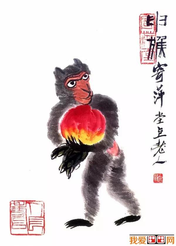 齐白石猴子国画《十二生肖猴》-著名中国画猴作品精选