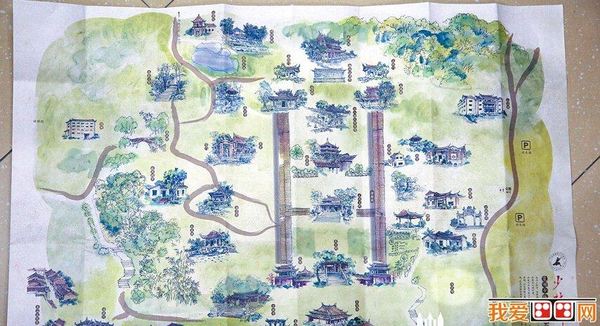 泉州少林寺精美手绘地图