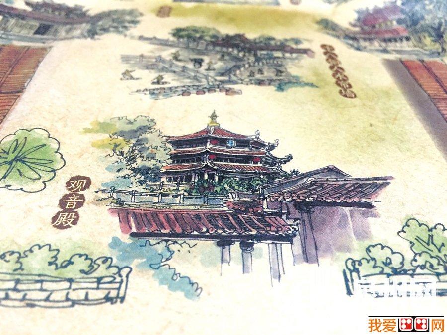 手绘地图囊括泉州少林寺全寺40个景点,图文并茂