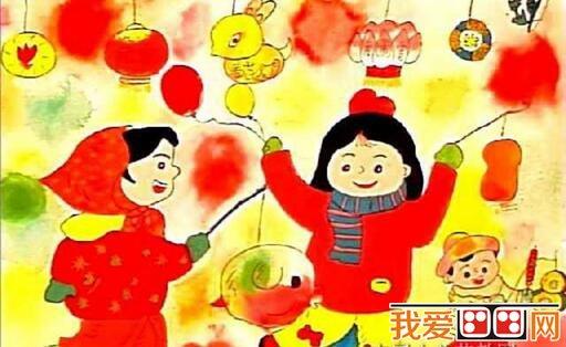 元宵节儿童水彩画作品欣赏