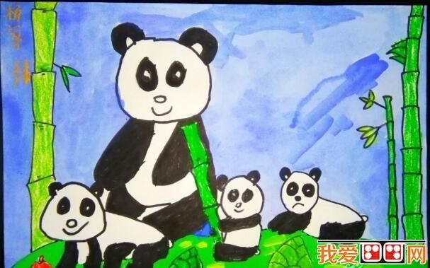 大熊猫儿童水粉画作品欣赏