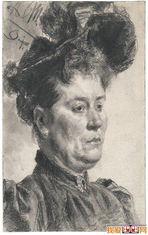 世界著名素描大师门采尔素描头像作品欣赏(6)