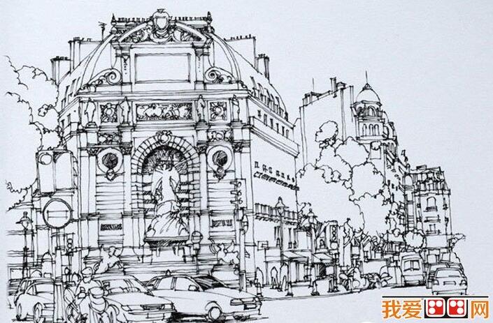 欧洲建筑钢笔素描写生作品欣赏 4图片