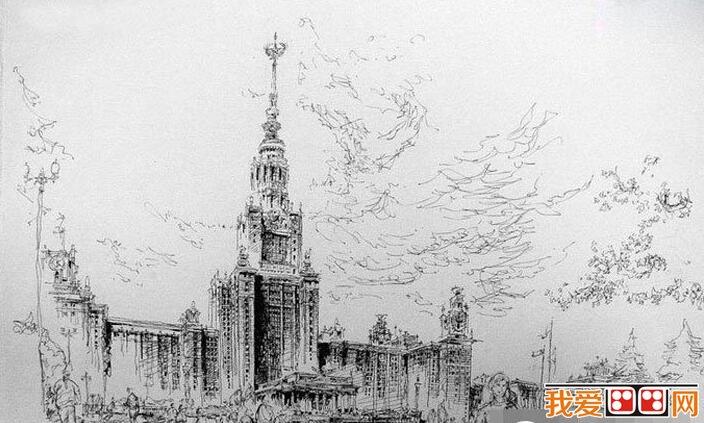 欧洲建筑钢笔素描写生作品欣赏 5图片