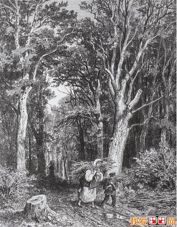 希施金的风景画多以巨大的,充满生命力的树林为描绘对象,那些摇曳