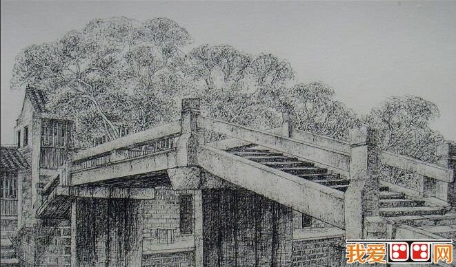 学画画 素描教程 素描风景 > 《江南古镇·桥系列》风景素描画欣赏(2)