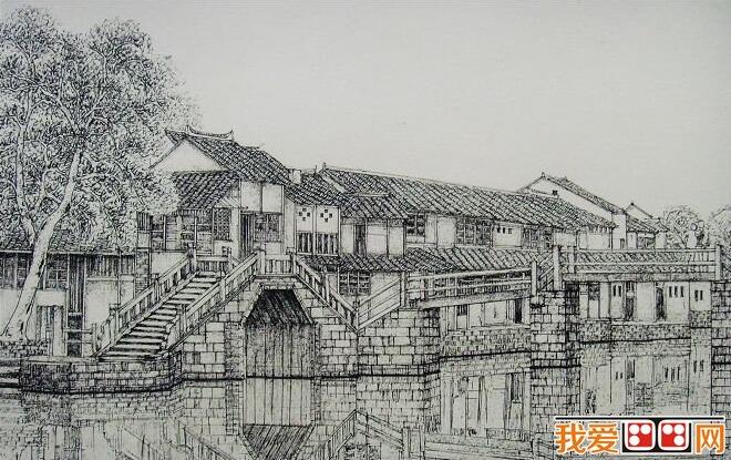 《江南古镇·桥系列》风景素描画欣赏(5)