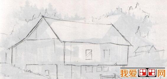 素描风景画 篱笆房子素描教程详解图片