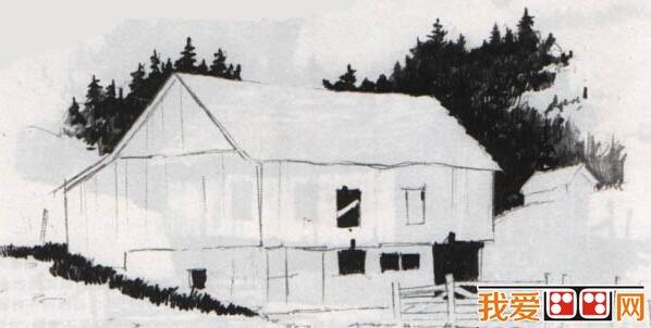 素描风景画:篱笆房子素描教程详解