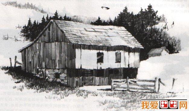 风景画:篱笆房子素描教程详解图片