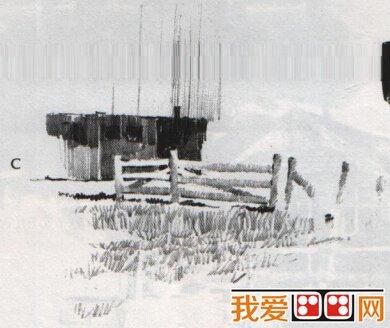 篱笆房子素描教程详解    五,侧面是用2b 铅笔画的,使用垂直图片