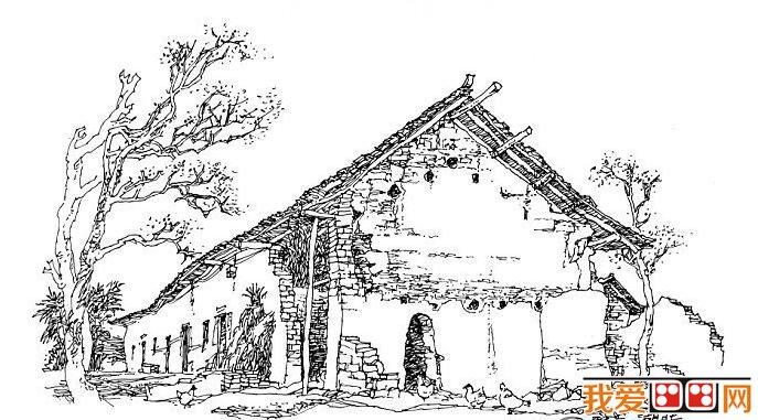 手绘简单透视图房屋