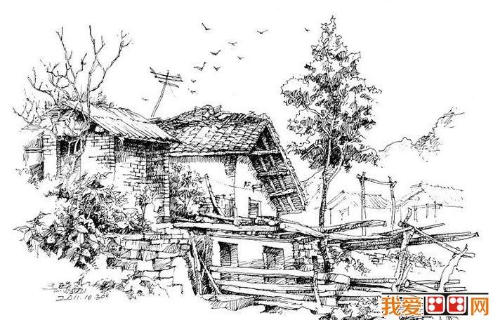 乡村室内手绘线稿