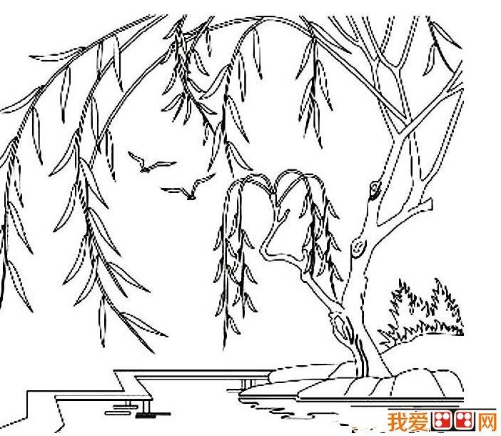 春天的景色儿童简笔画作品欣赏(3)