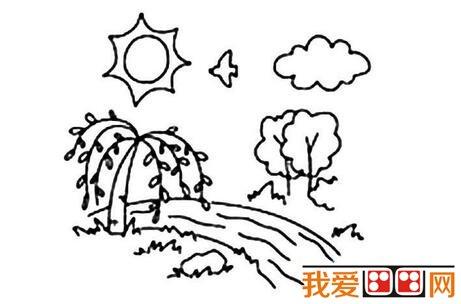 儿童简笔画春天的景