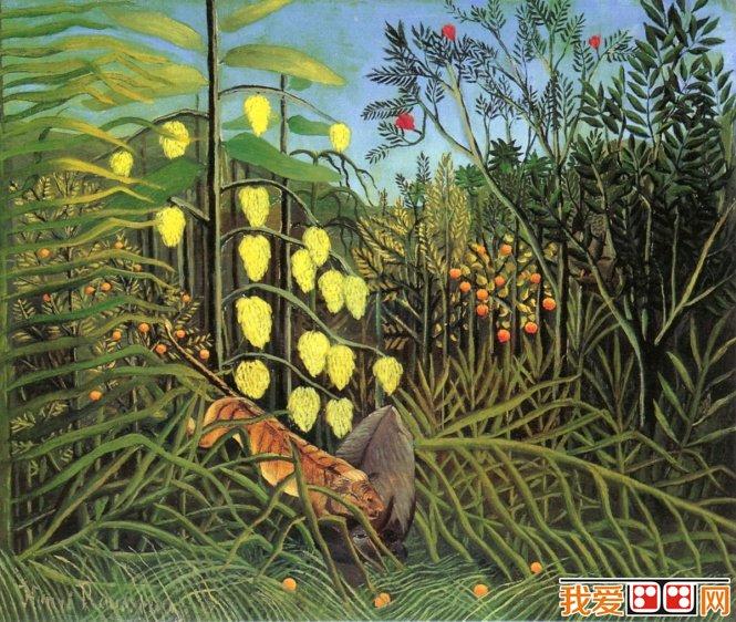 卢梭森林风景油画:老虎与牛的格斗