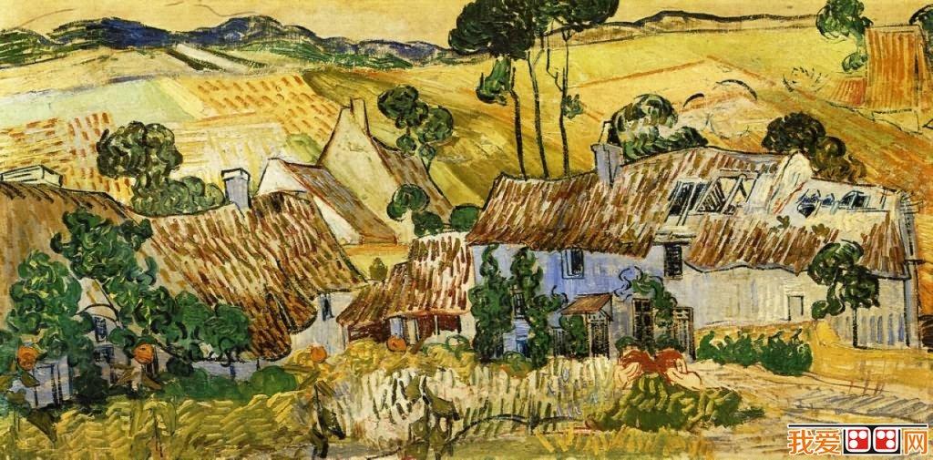 世界著名画家梵高茅草屋系列风景油画作品