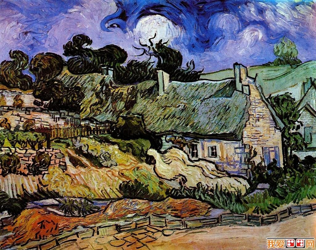 世界著名画家梵高茅草屋系列风景油画作品(6)