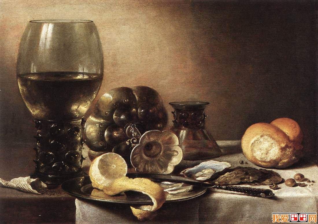 静物油画:柠檬和面包