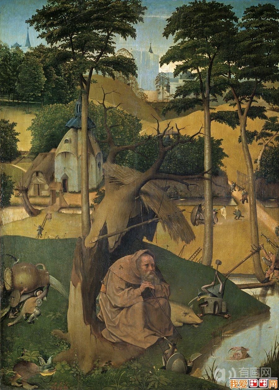 希罗尼穆斯·波希著名油画:圣安东尼的诱惑