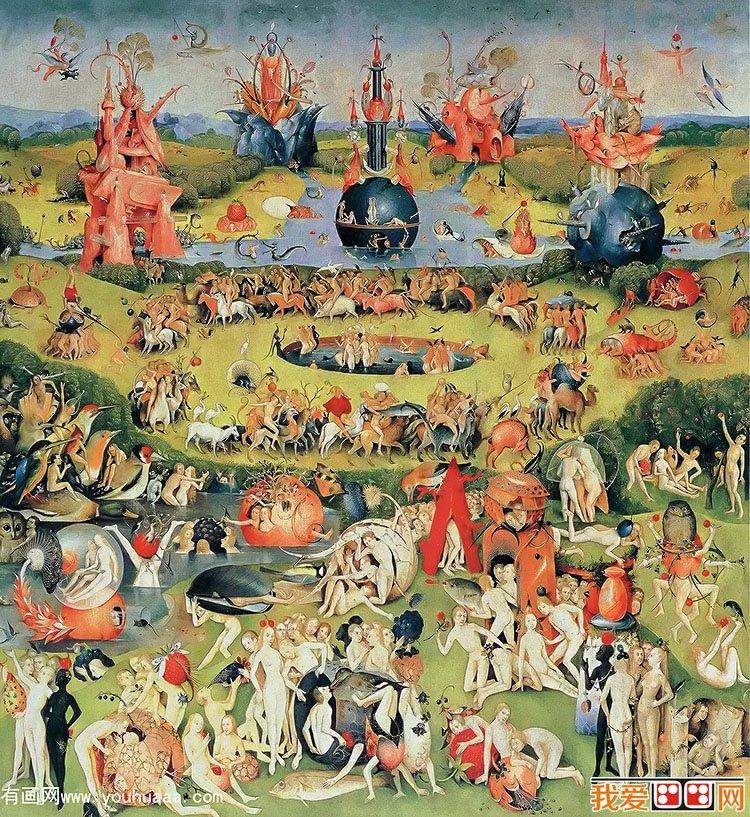 希罗尼穆斯·波希著名油画:人间乐园(中间幅)