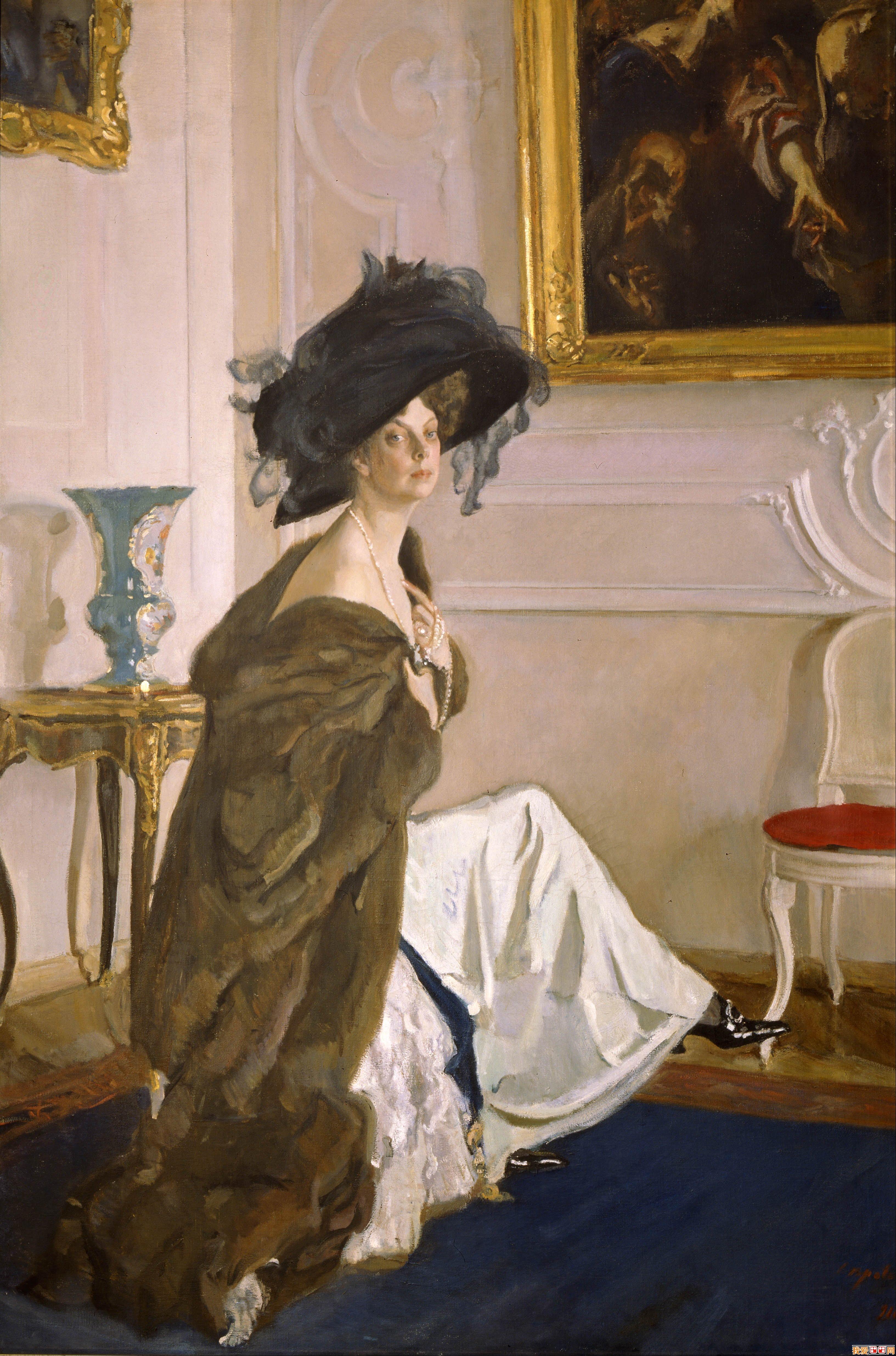 画家谢洛夫女性人物油画作品《-俄国杰出的人物肖像画家谢洛夫人物