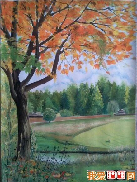 水彩画教程 水彩风景画 > 郊外风景水粉画教程详解(4)      七,点出